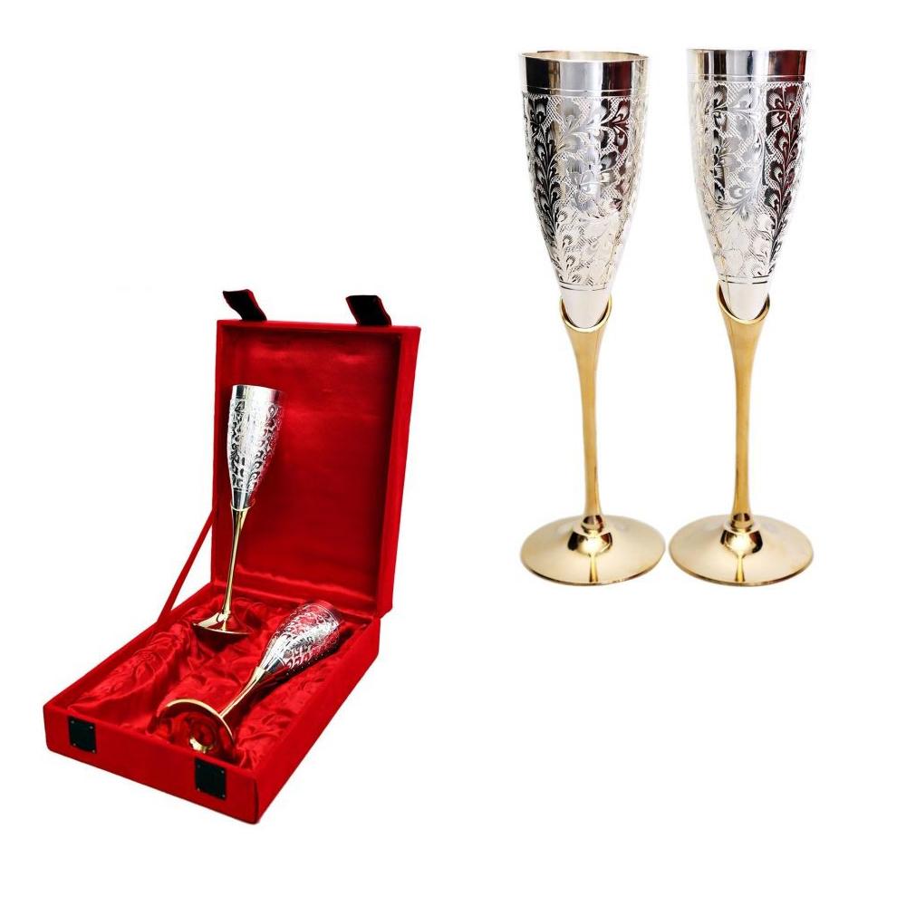 Exquisite German Silver Wine Glasses - wine glasses set