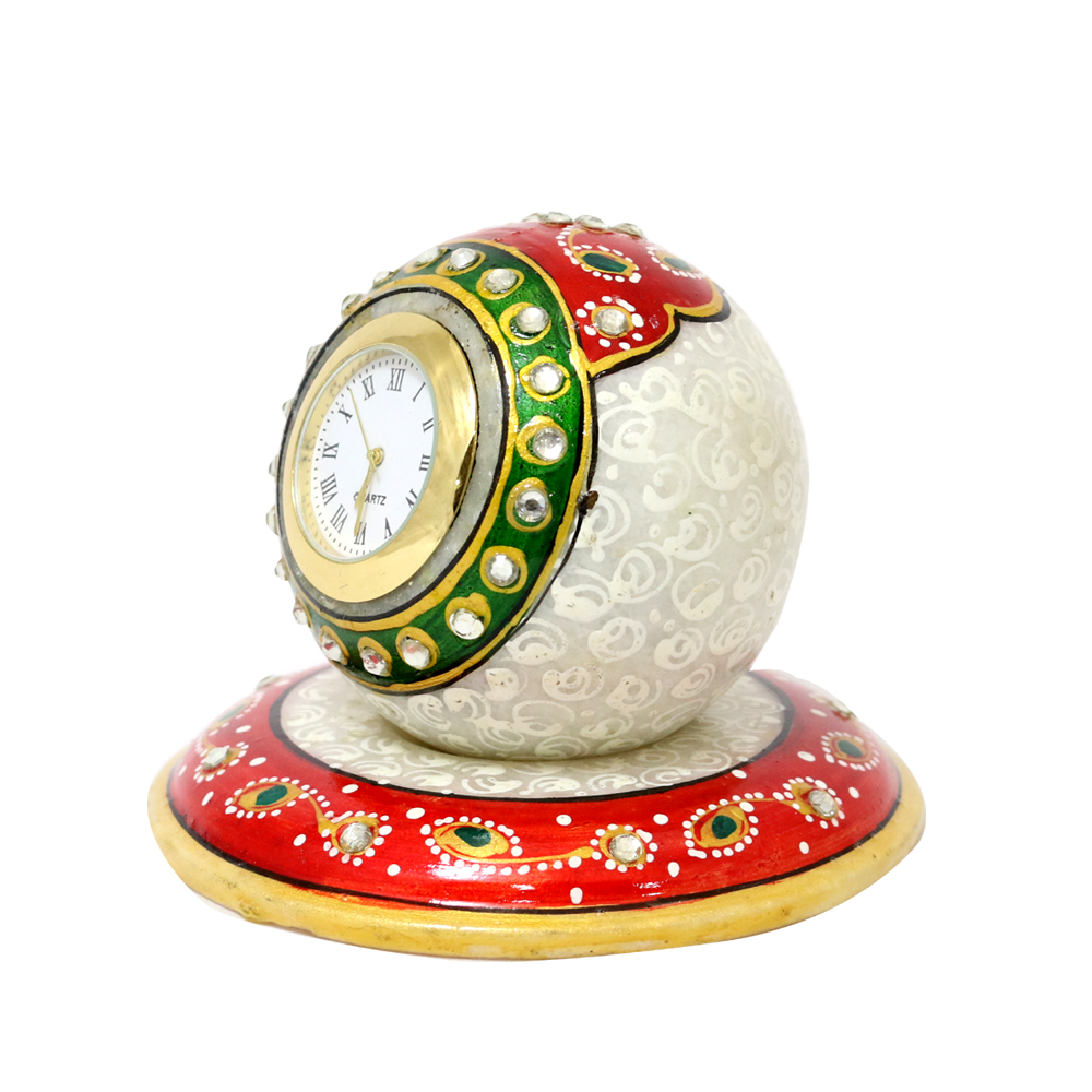 Marble paperweight style clock with beautiful meena work - marble round clock
