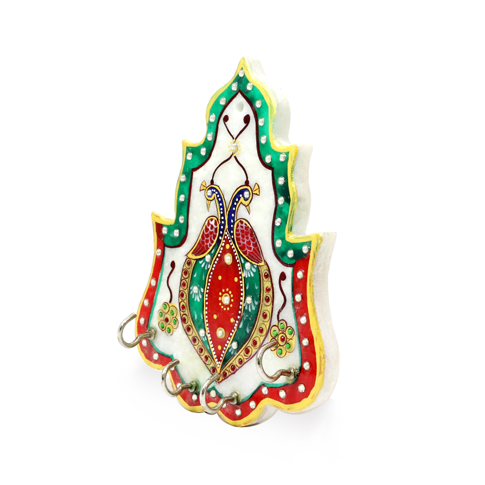 Richly decorated marble key holder - marble peacock wall hanging keyholder