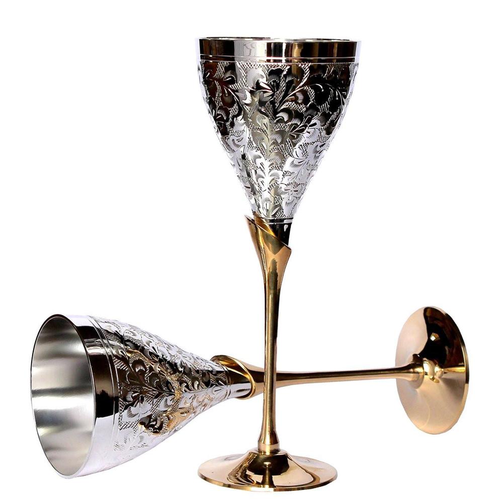 German Silver Wine Glass Set - german silver pure brass goblet wine glass set of 2