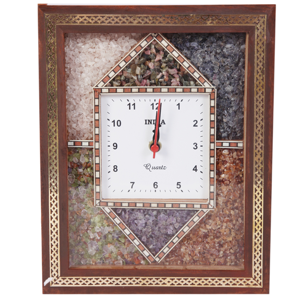 Stone Embedded Multicolor Square Shaped Wooden Wall Clock - wooden gemstone wall clock by boontoon