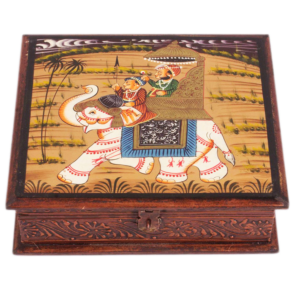 Wooden Box with Antique Carving and Camel Painting  - Elephant painting one wooden box