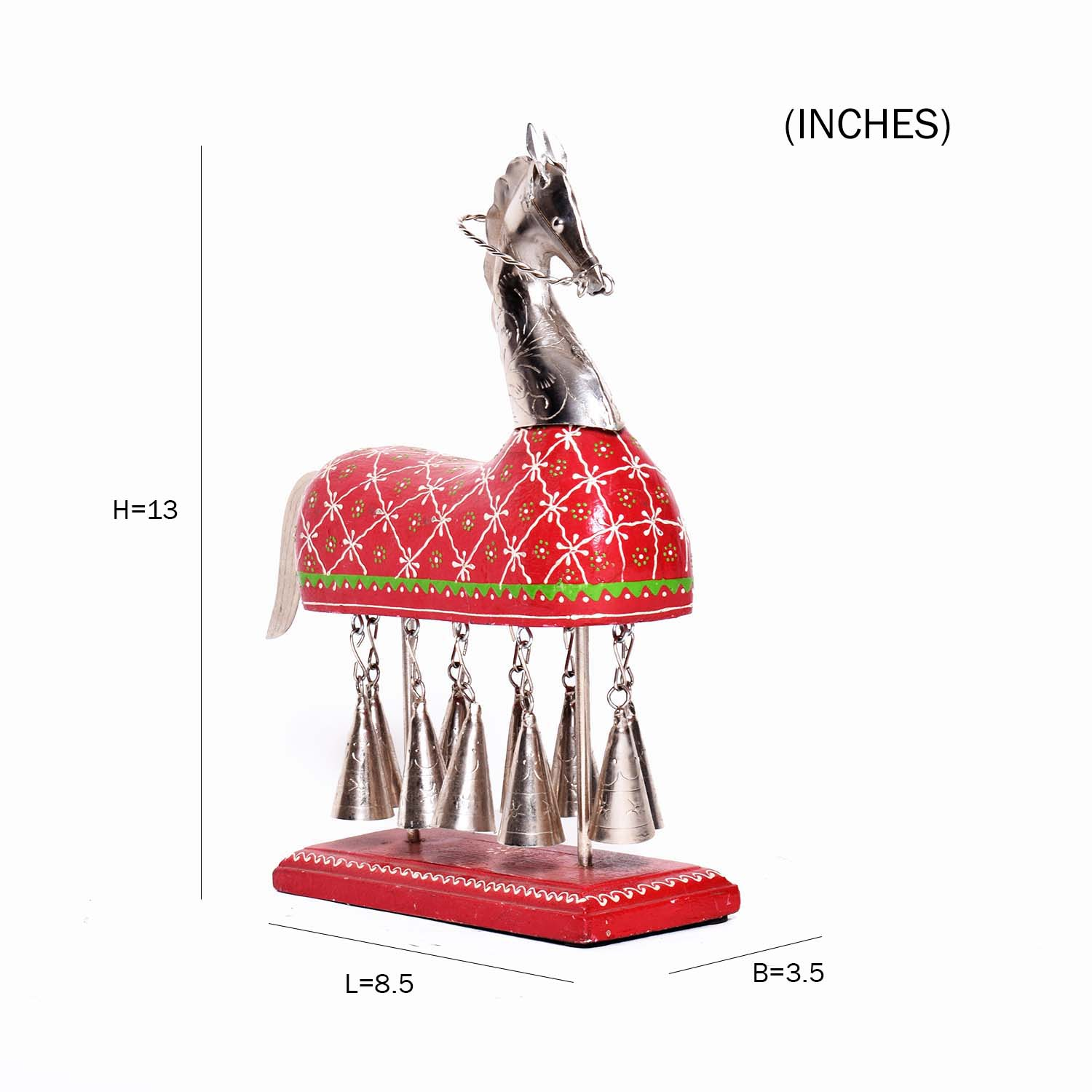 Metal Hanging Bell Horse with Embossed Work - decorative metal horse