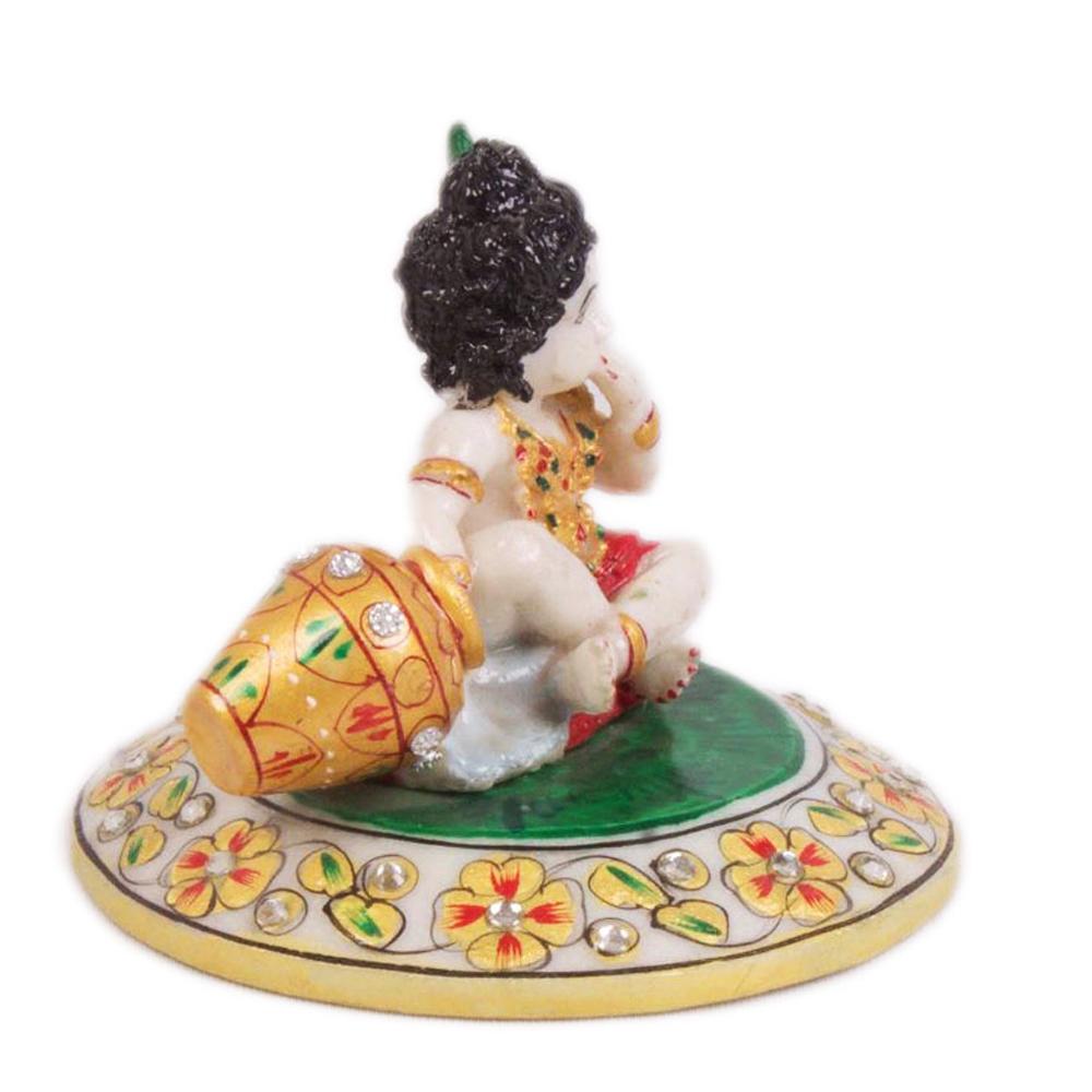Adorable Kanha Eating Makkhan Idol in Soft Marble  - kanha