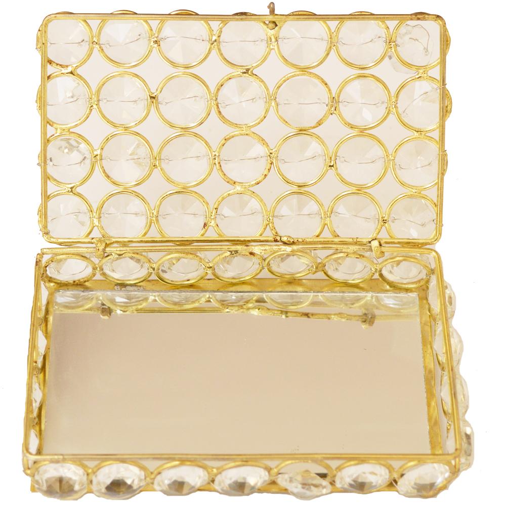 Metal Framed Crystal Box for Jewellery or Cards  - brass framed crystal box
