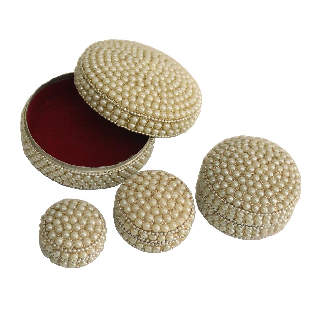 Pearl and velvet handcrafted Dibbi set of 4 - boontoon four dibbi set