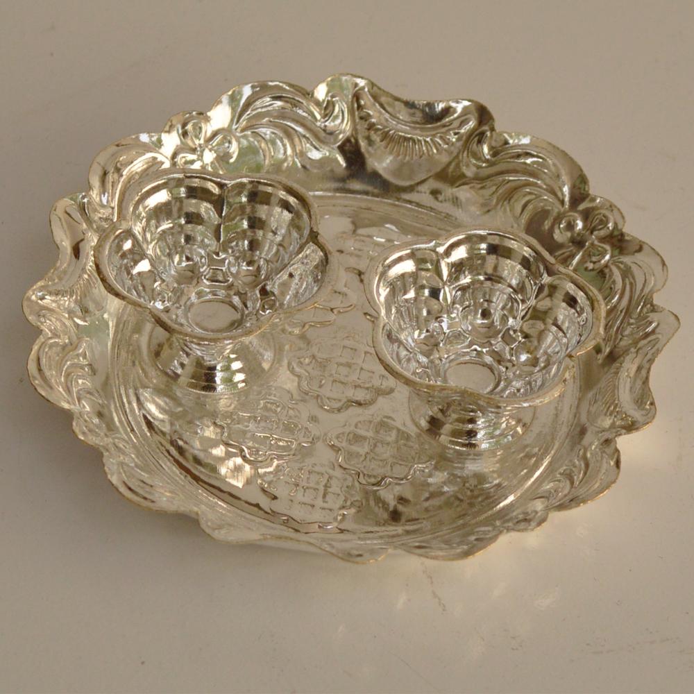 German Silver Round Shaped Plate Chopra  - German Silver Plate Chopra