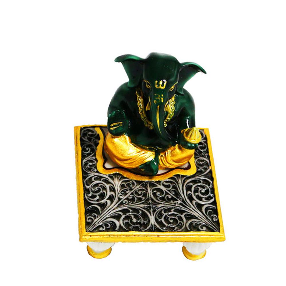 Resin made Ganesh with Chowki - ganesh with chowki