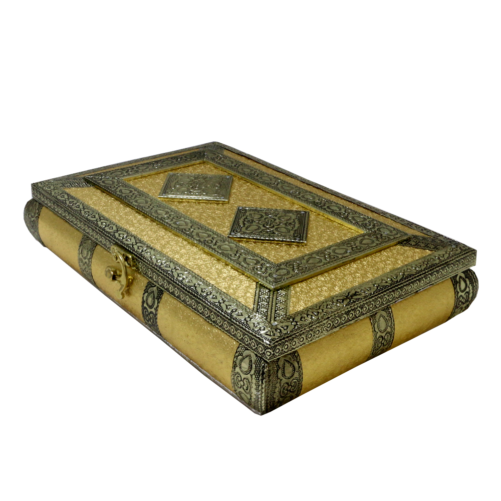 Dry fruit storage box made of wood & crafted with brass on top - Dry fruit storage box made of wood and crafted with brass on top BH-0609-3