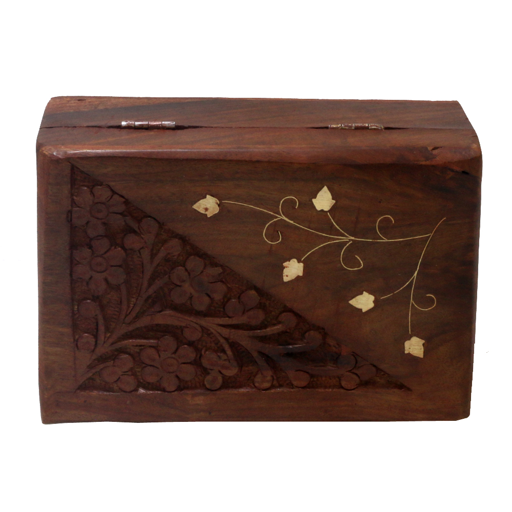 Alluring Barnish Coloured Wooden Box With Carving - Alluring barnish coloured wooden box with carving BH-0613-1
