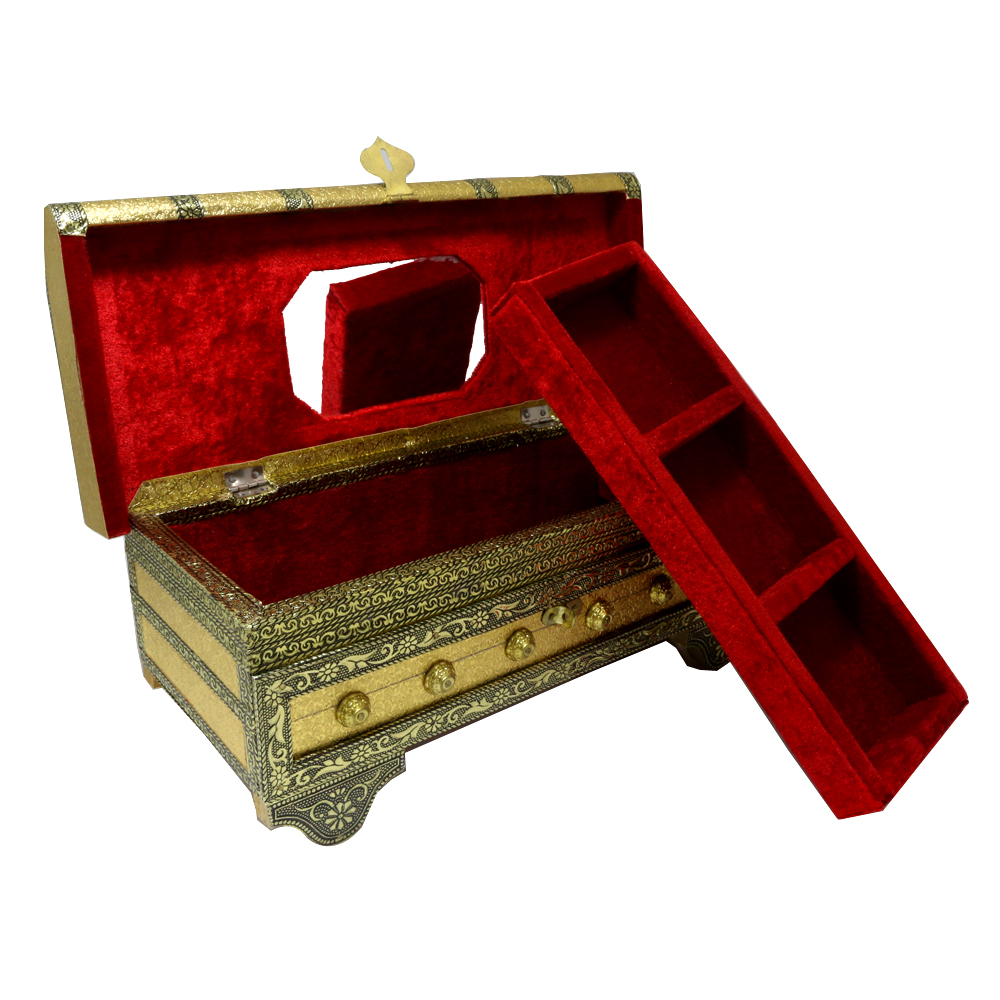 Uniquely shaped wooden pitari box designed with brass and resin all over the body - Uniquely shaped wooden pitari box designed with brass and resin all over the body BH-0619-2