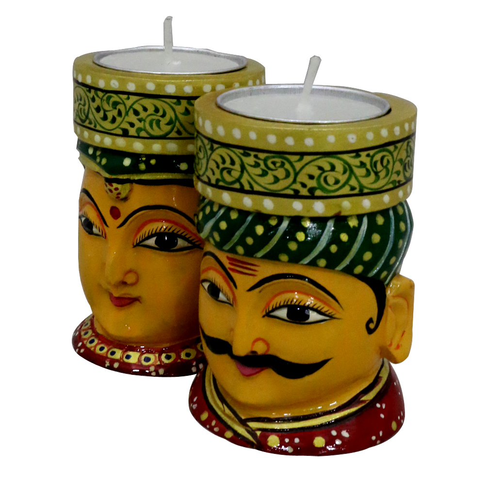 Ethnic t-lite candle holders with a touch of rajasthan - Ethnic t-lite candle holders with a touch of rajasthan BH-0623-1