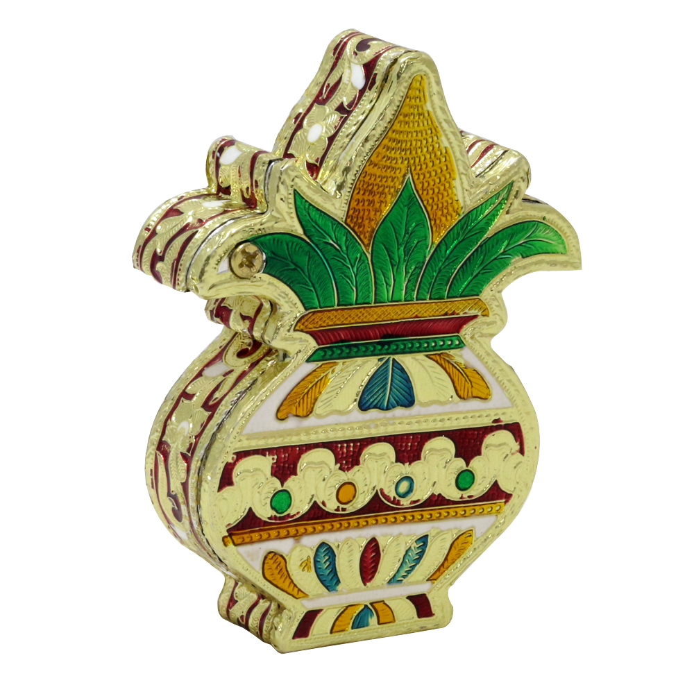Kalash shaped wooden small size dryfruit box with meenakari design. - Kalash shaped wooden small size dryfruit box with meenakari design BH-0636-1