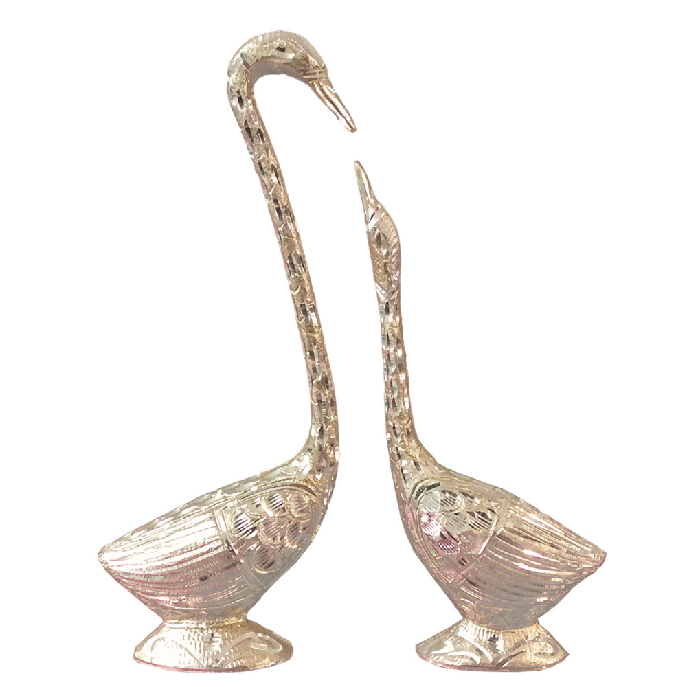Classic swan pair with metal finish - Classic swan pair with metal finish BH-0643-1