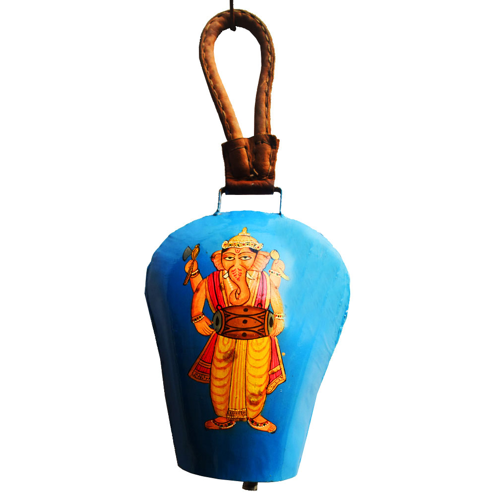 Colourful metal wind bell with ganesha painted for vibrancy and peace - Colourful metal wind bell with ganesha painted for vibrancy and peace BH-0647-1