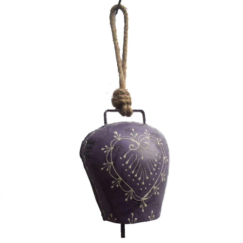 Simple yet suave metal wind bell with small flower prints - Simple yet suave metal wind bell with small flower prints BH-0648-1