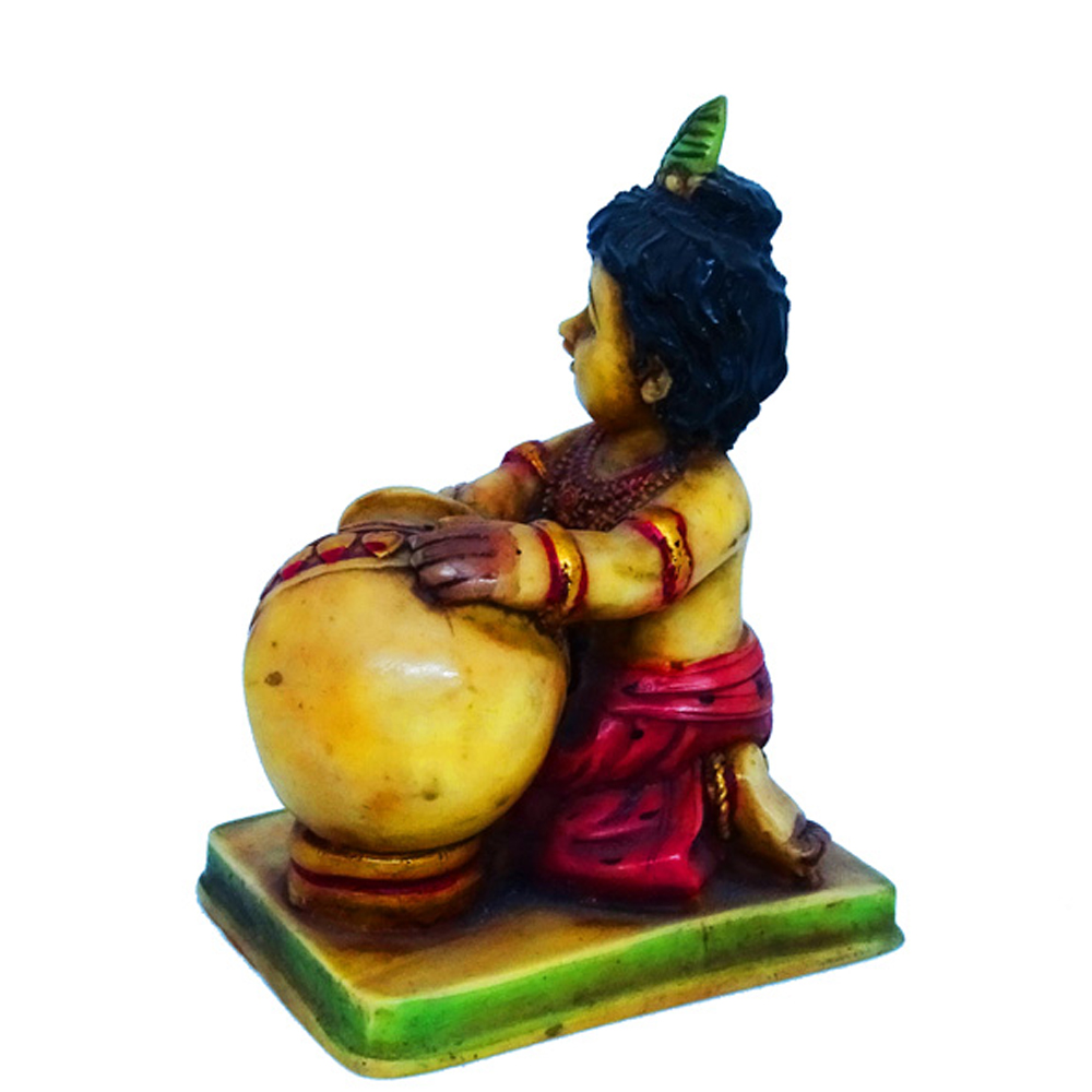 Little Kanha Showpiece Made Of Soft Marble - Boontoon kanha having makhan in resin