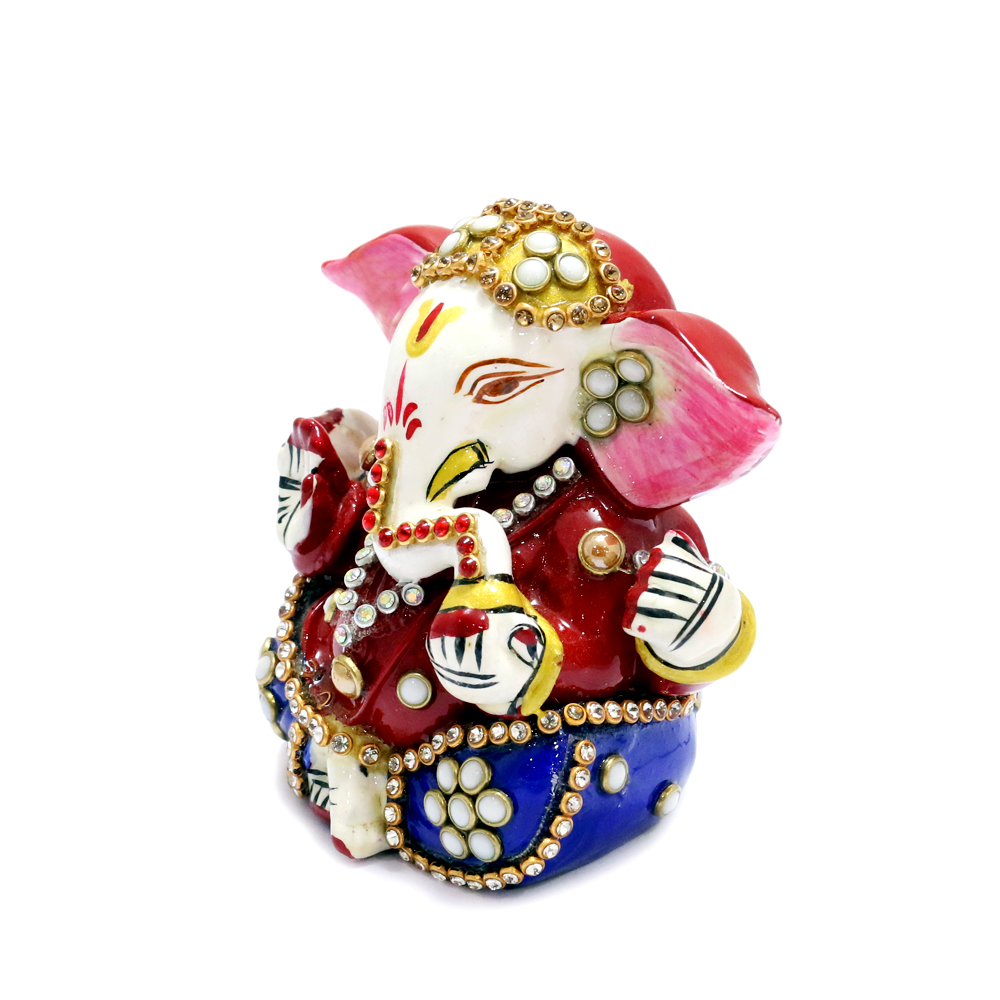 Seated Lord Ganesh With Delicate Meena And Stone Work - boontoon metal and stone work ganesh2