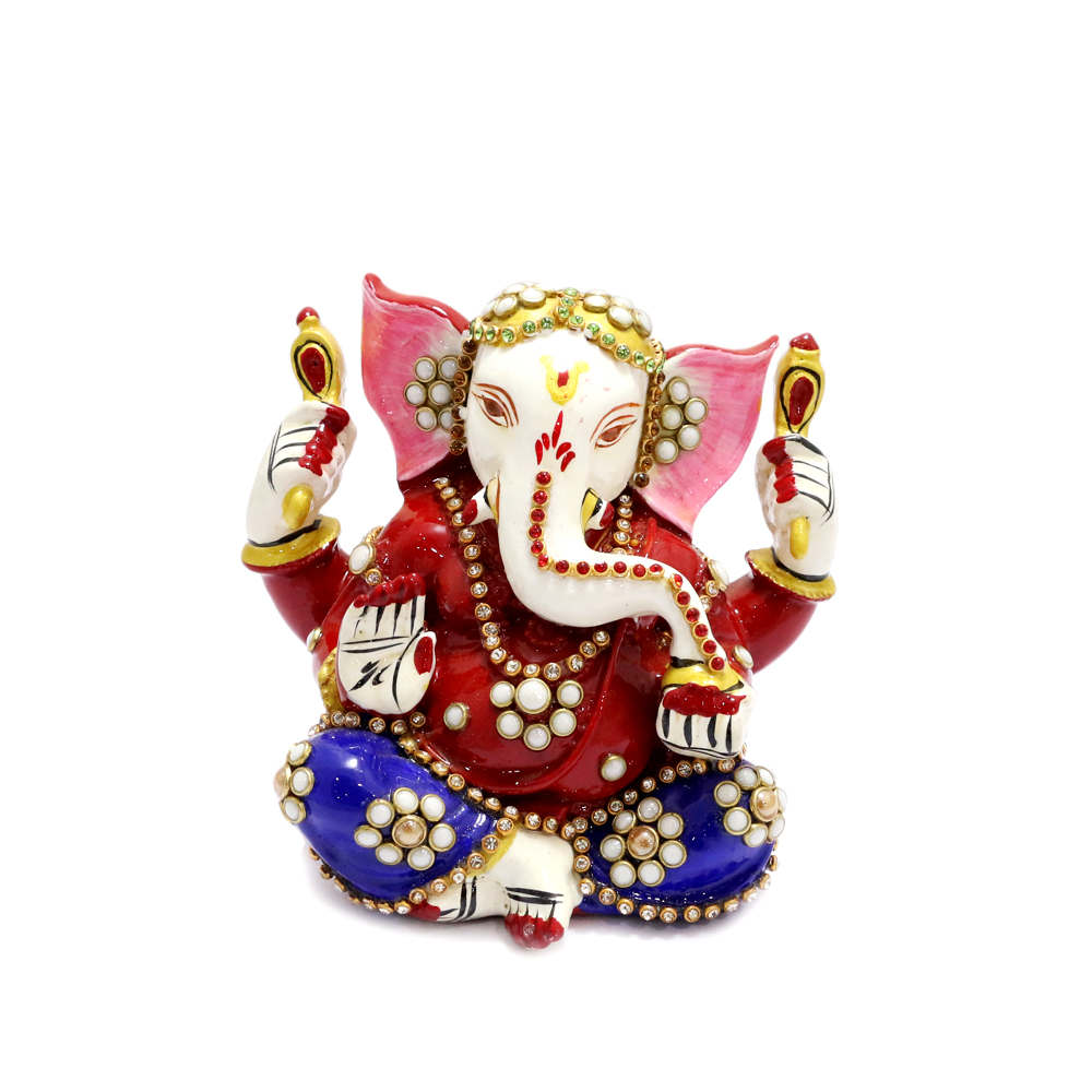 Lord Ganesh With Beautiful Meena And Stone Work All Over - boontoon metal and stone ganesh3