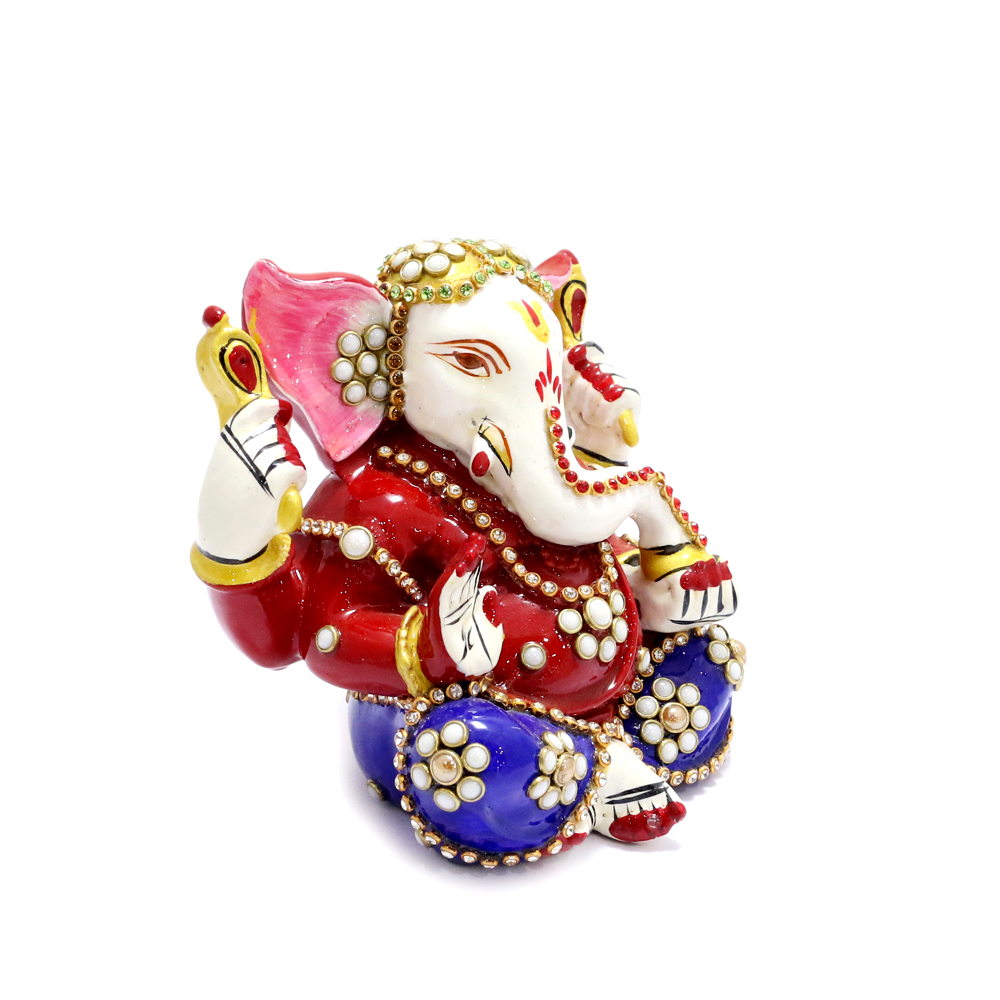 Lord Ganesh With Beautiful Meena And Stone Work All Over - boontoon metal and stone ganesh4
