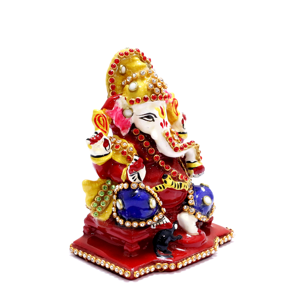 Lord Ganesha In Sitting Posture With Red Velvet Packing Case - boontoon metal and stone ganesh with red suare stand1
