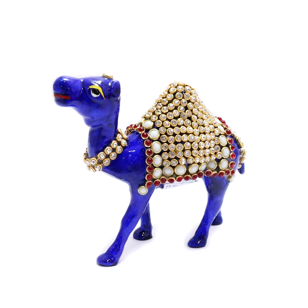 Royal Blue Camel Showpiece With Intricate Detail Work - Boontoon metal camle with stone work