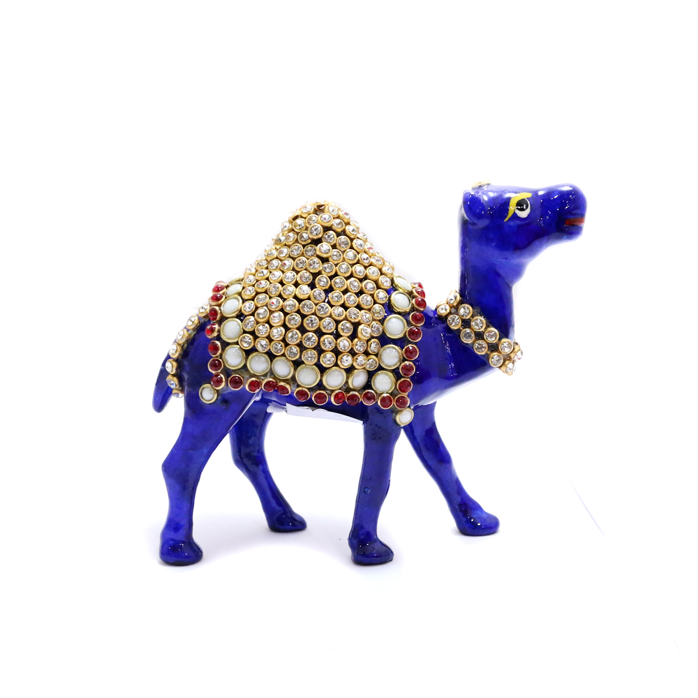 Royal Blue Camel Showpiece With Intricate Detail Work - Boontoon metal camle with stone work1
