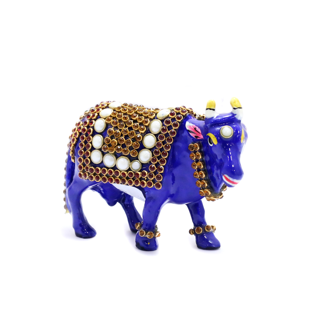Metal Cow With Stone And Meena Work - Boontoon metal camle with stone work