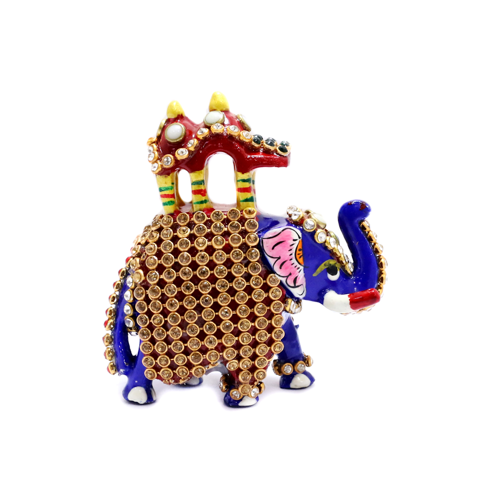 Designer Elephant Showpiece With Its Trunk Symbolizing Victory - Boontoon small metal and stone work elephant1