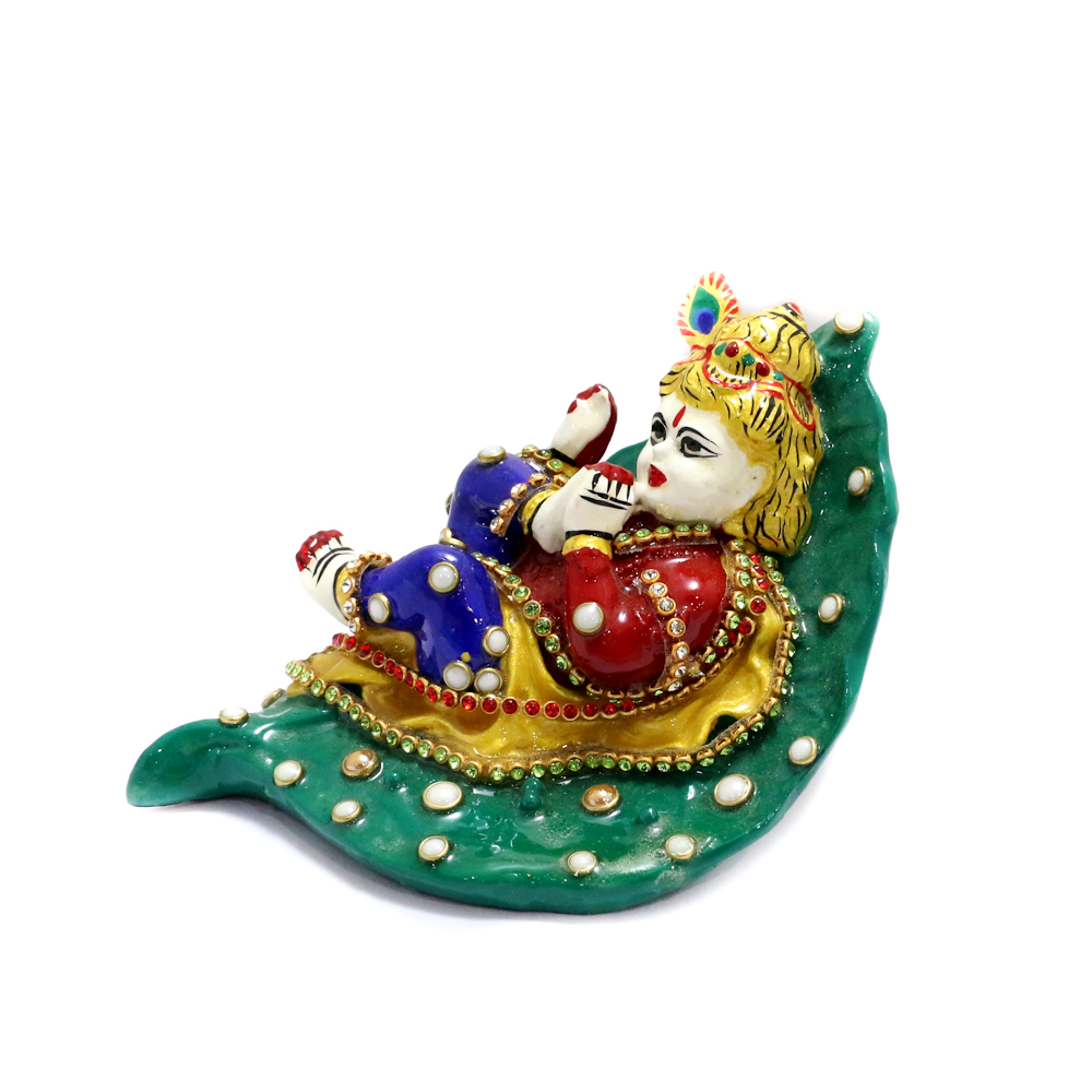 Little Kanha Made Of Metal With Simple Meena Work - Boontoon small metal and stone work kanha in leaf1