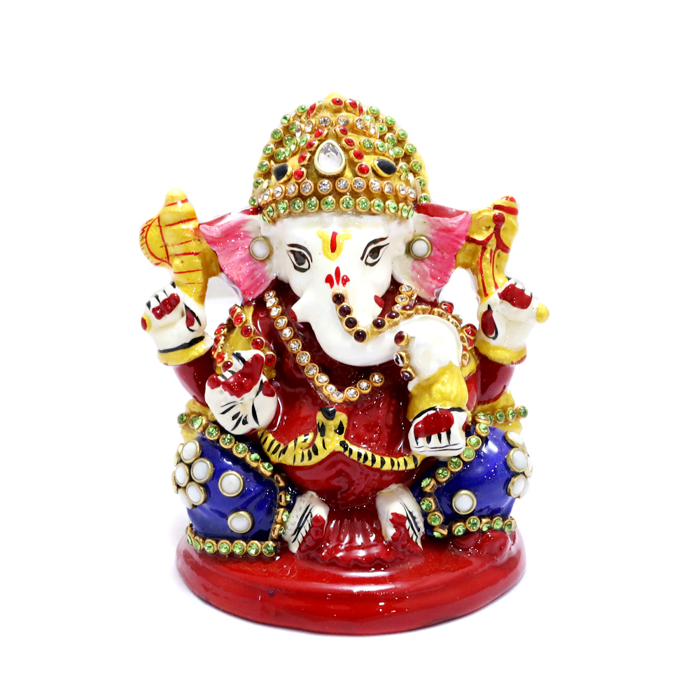 Lord Ganesh In Metal Body With Meena Work - boontoon etal ganesh with red chowki