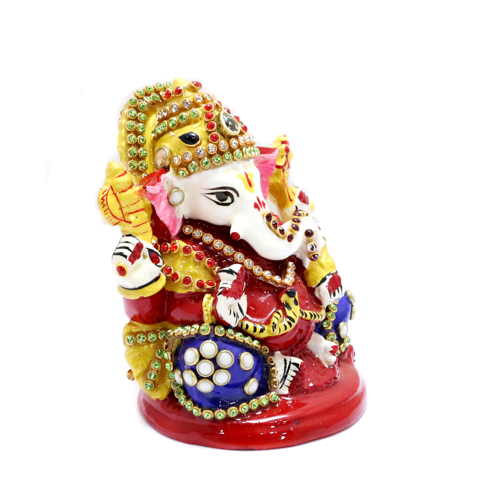 Lord Ganesh In Metal Body With Meena Work - boontoon etal ganesh with red chowki1