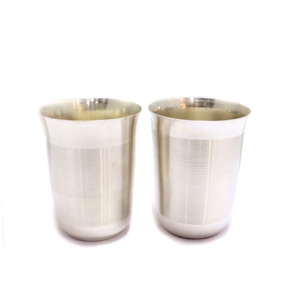 Stainless Steel With Liquor Polish Pair Of Sophisticated Looking Glass - Boontoon steel glass set
