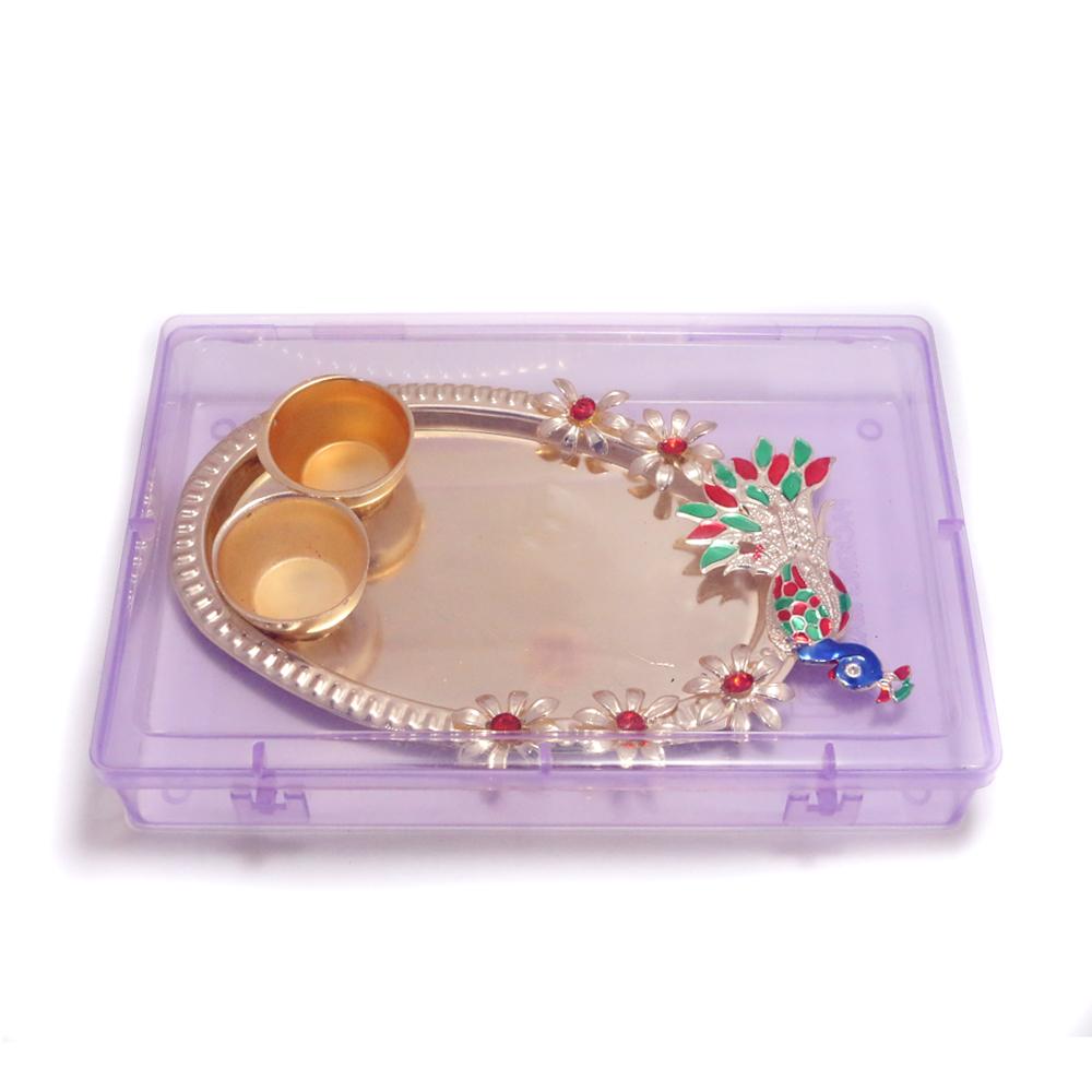 Peacock Design Small Puja Plate - Boontoon Pooja plate1
