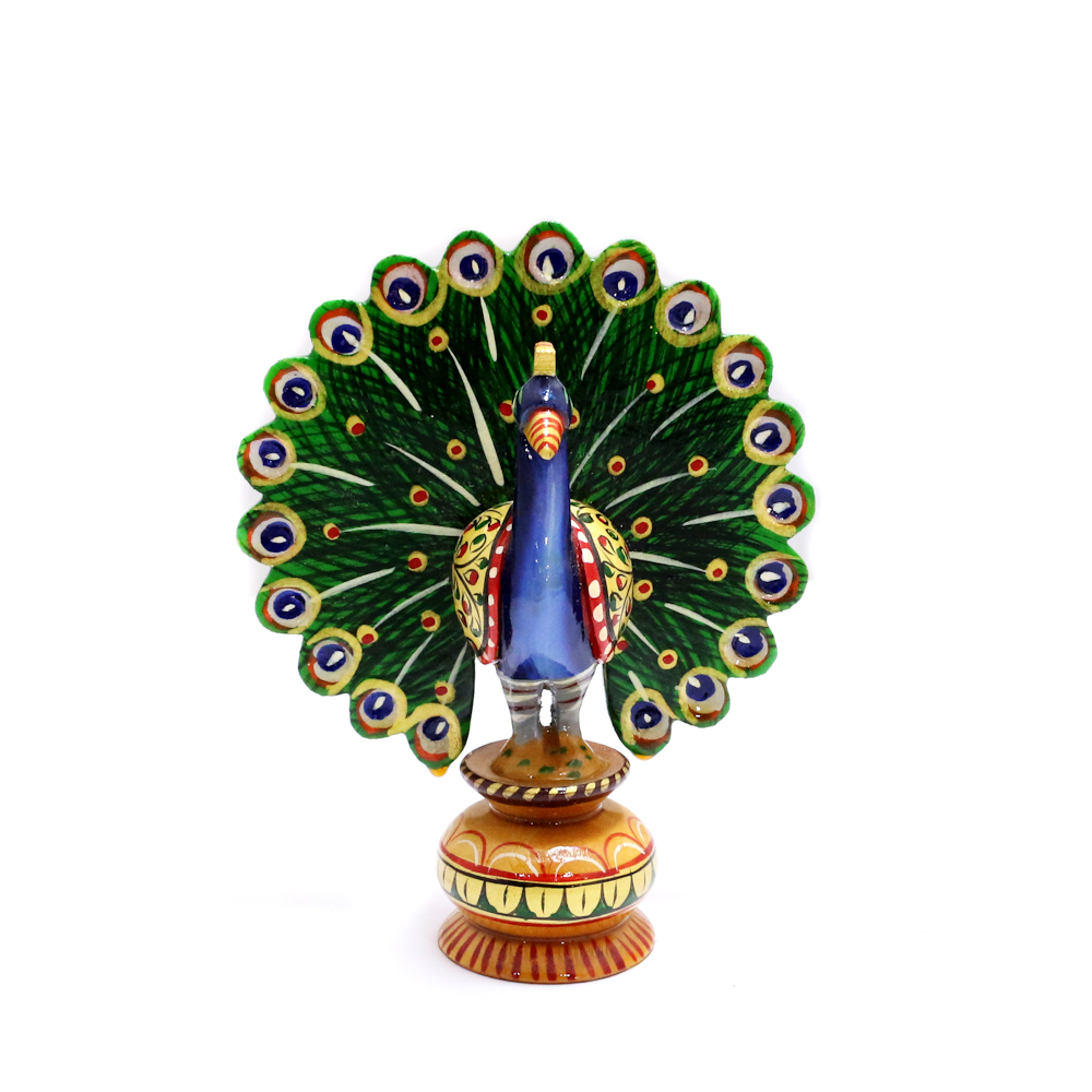Wooden Peacock For Decoration With Meena Work - Boontoon Wooden Peacock