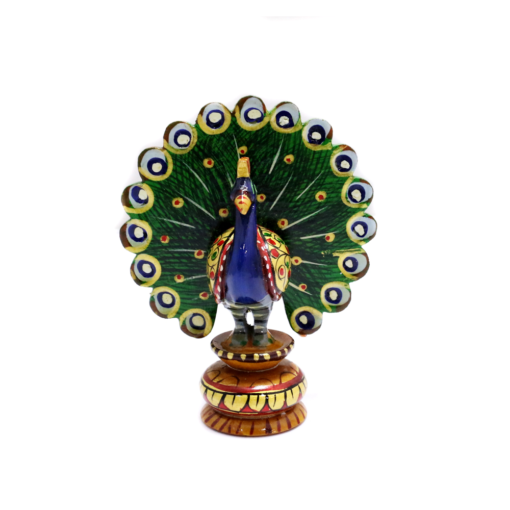 Wooden Peacock Showpiece With Meea Designs - Boontoon Wooden Peacock2