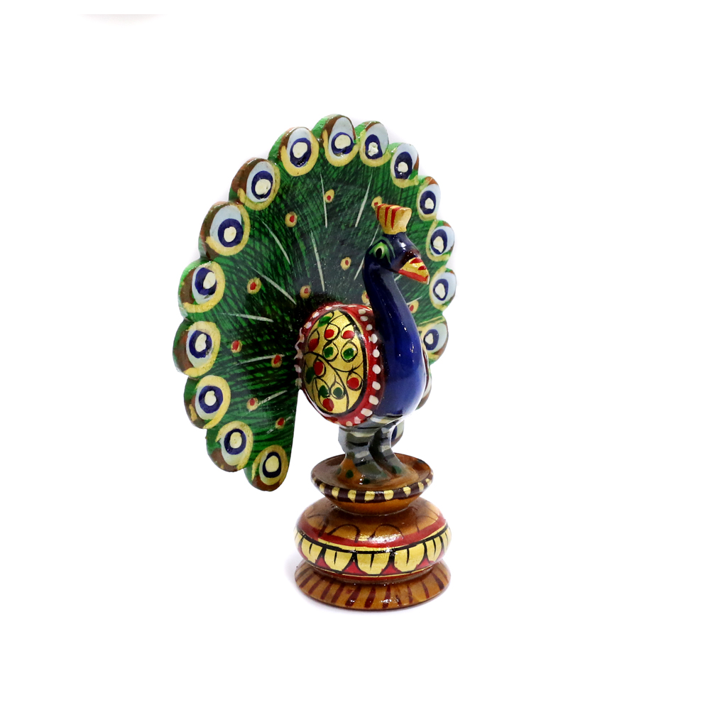 Wooden Peacock Showpiece With Meea Designs - Boontoon Wooden Peacock3