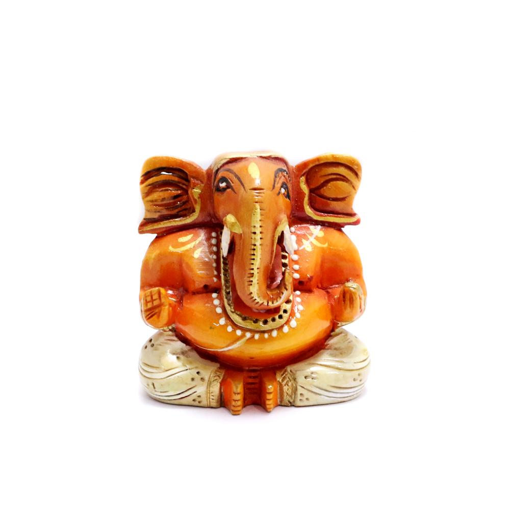 Wooden Ganesh Idol In White Colour - Boontoon Wooden Ganesh
