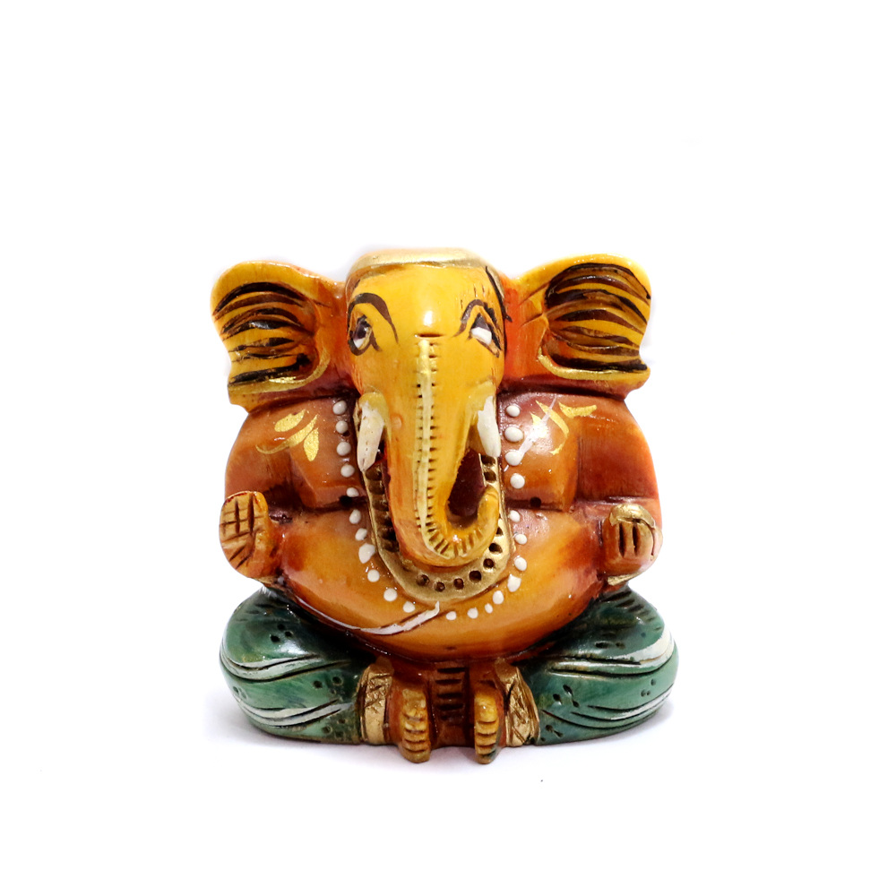 Wooden Ganesh Idol For Worshipping - Boontoon Wooden Green Ganesh