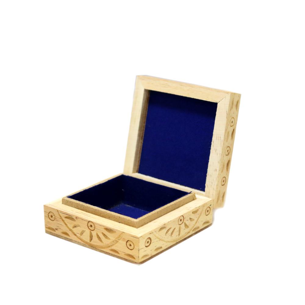 Wooden And Gemstone Designer Box With Velvet Inside - Boontoon Wooden Gemstone Box