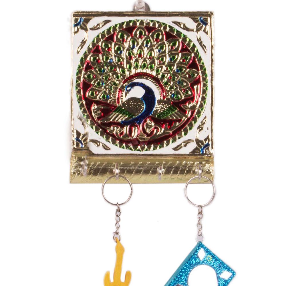 Excellent Wall Key Hanging in Wonderful Meenakari Work - Wooden Meena Keyholder