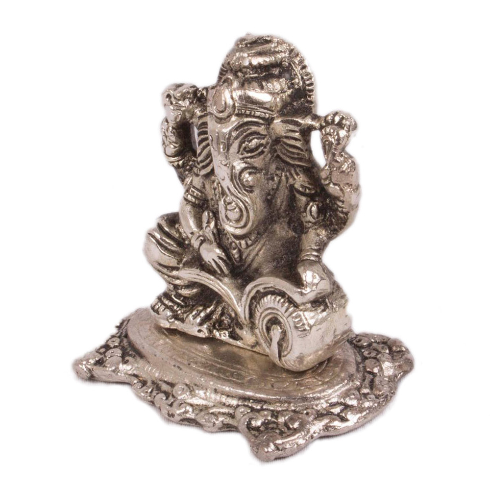 Welcome Home Good Luck With Silver Colored Ganesh Ji  - Oxidised writing Ganesh in silver color