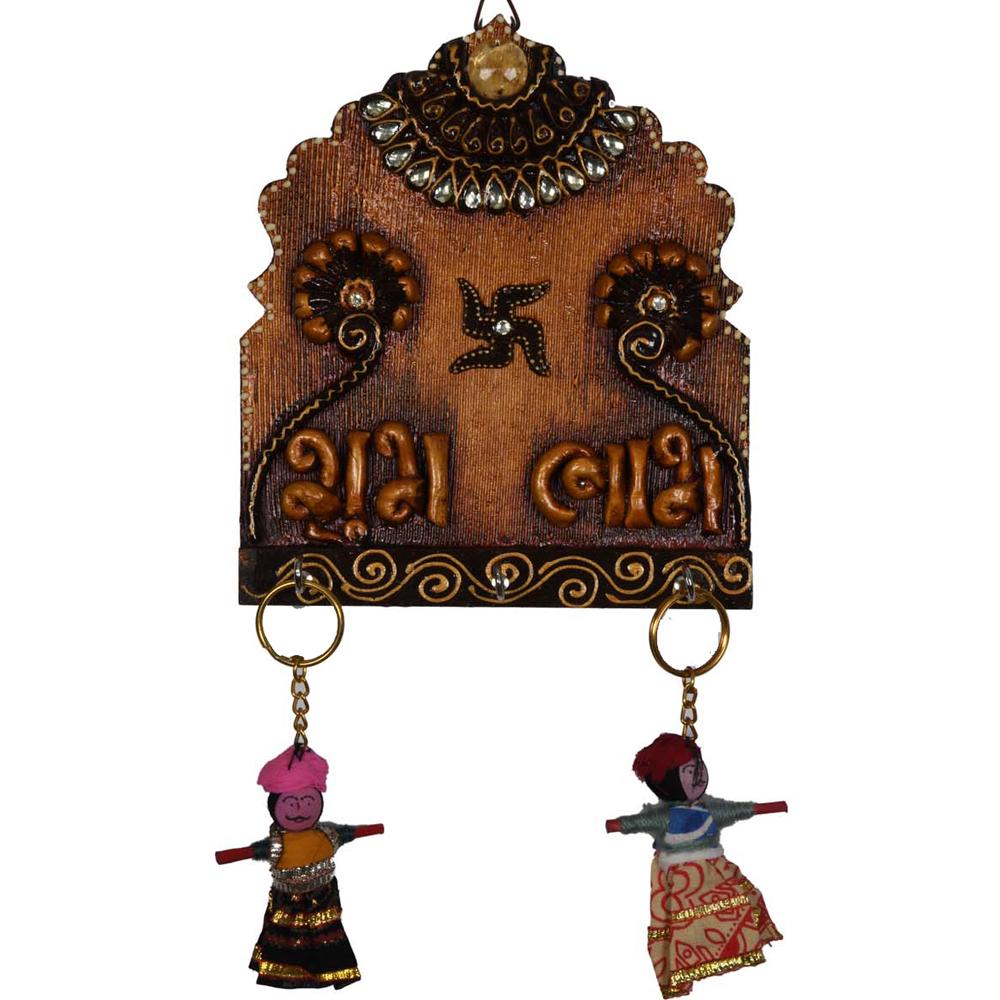 Wooden Antique Color Key Hanging - Wooden Kundan key holder for home decor