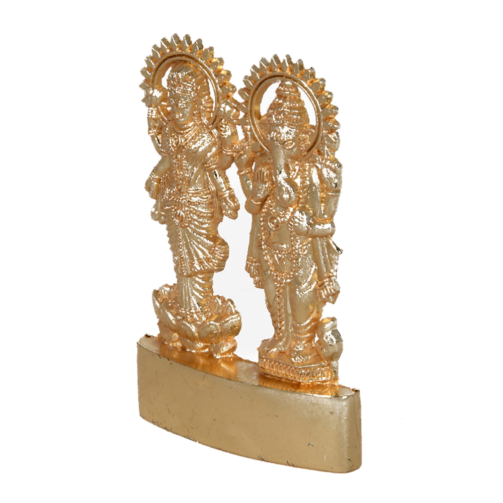 A Dual Statue Of Lakshmi Ganesh Made From Brass - Metal Laxmi Ganesh for return gifts