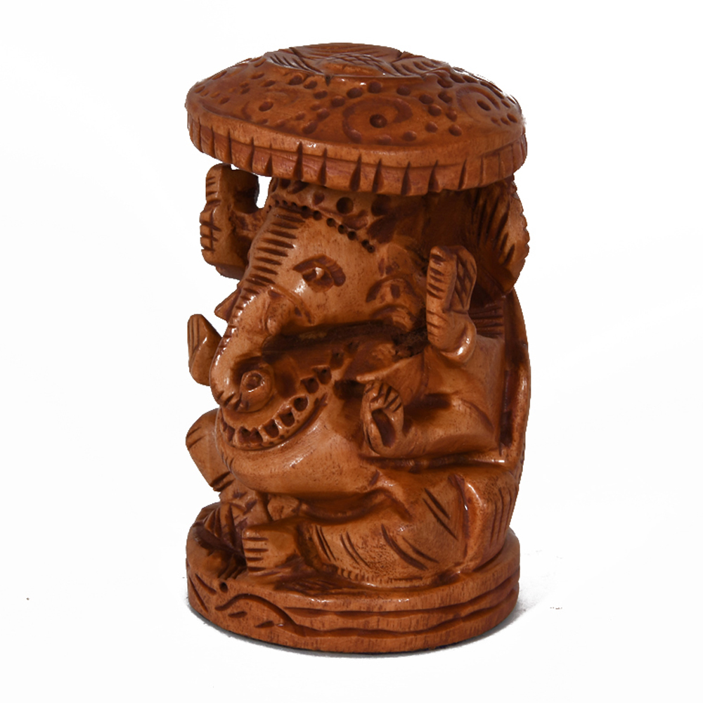 A Beautiful Carving Of A Ganesh Under A Chatri Made Of Wood - Wooden Ganesha with chatra