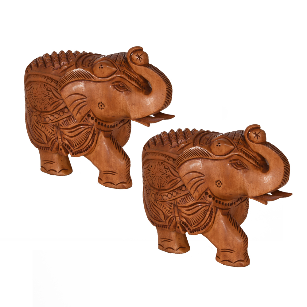 A pair of elephants carved out of wood with beautiful engravings - wooden elephant pair