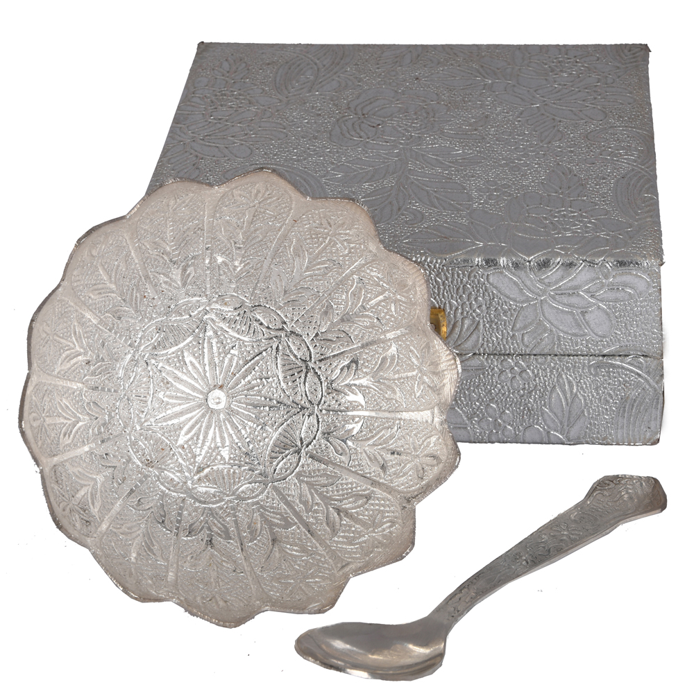 Lotus shape dry-fruit bowl made from German silver - german silver flower shaped bowl