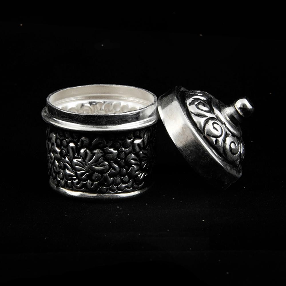 Mouth-freshener handle dabbi made of oxidised metal and brass - Mouth freshener handle dabbi made of brass