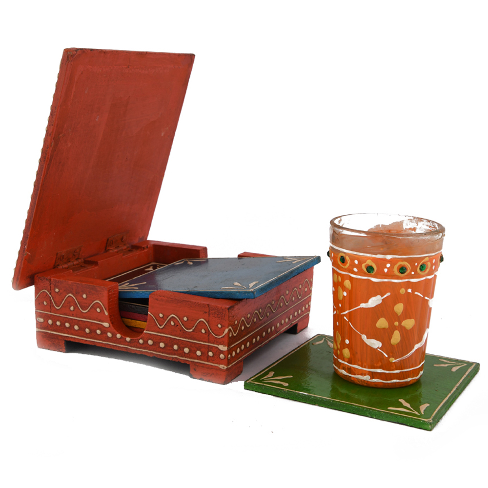 A set of wooden tea coasters with meenakari work, completely handmade - wooden tea coasters with meenakari work for return gifts