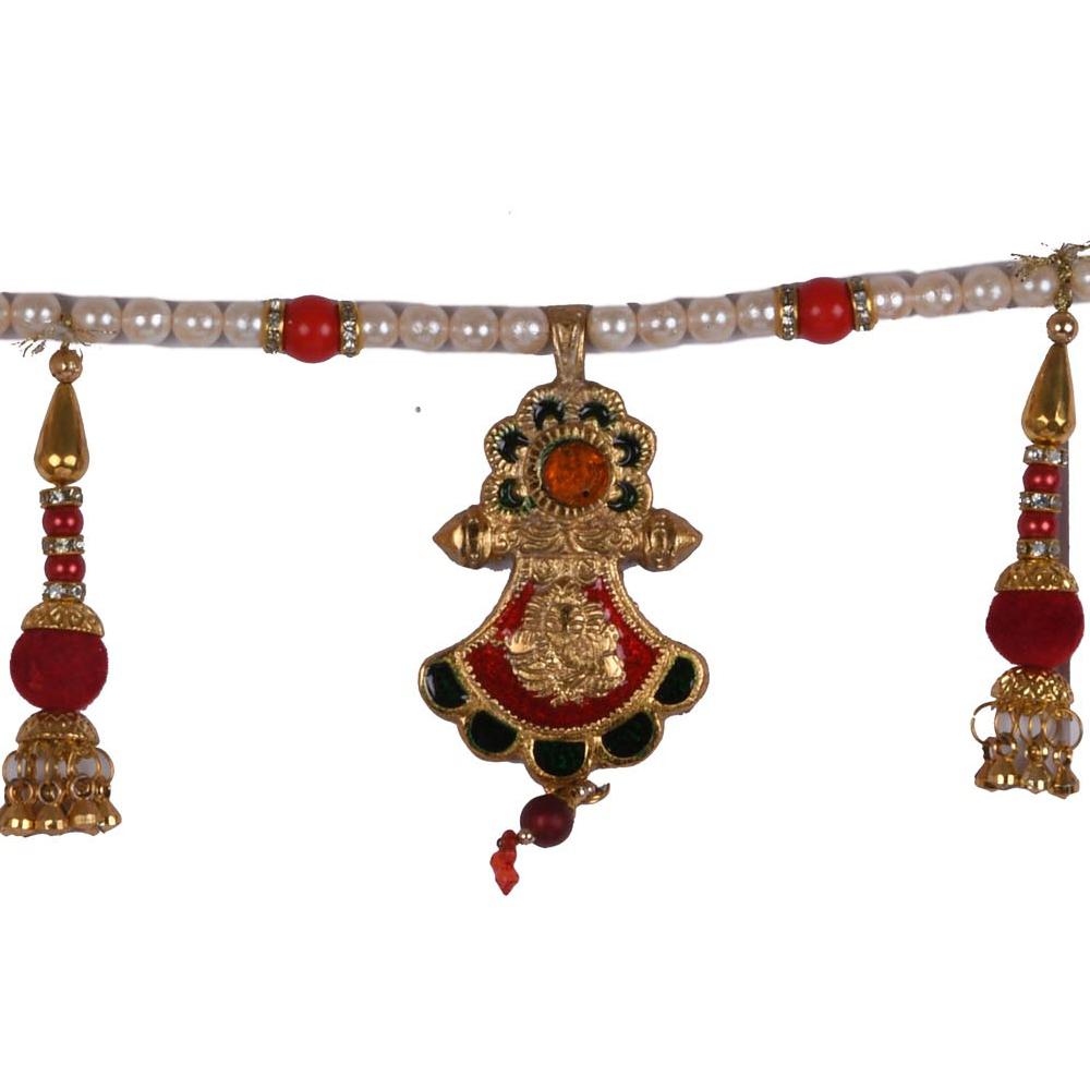 An oxidised metal multi coloured bandarwal for wall and door hanging - multi coloured bandarwal for door hanging for return gifts